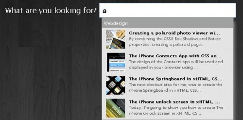 A fancy Apple.com-style search suggestion-Apple.com-style