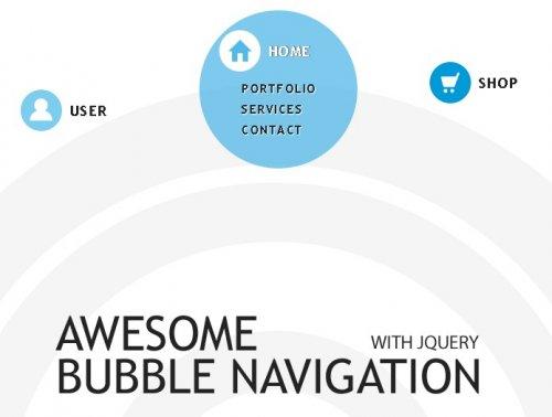 Menu con efectos de burbuja-Bubble Navigation
