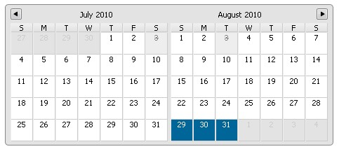 Multiday Calendar Datepicker JQuery Plugin-Multiday