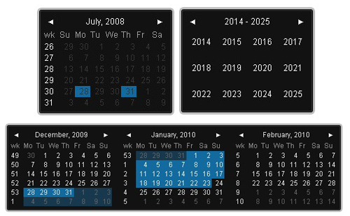 Date Picker component with a lot of options and easy to fit in your web application.-Date Picker