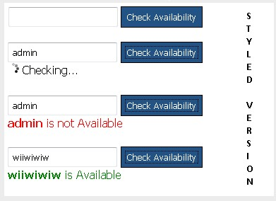 Checking username availability with ajax using jQuery-UserCheck
