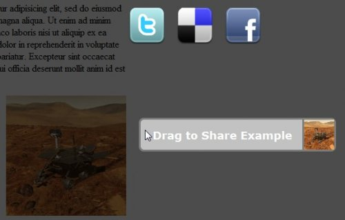 Plugin that allow you to Share content dragging it-DragToShare