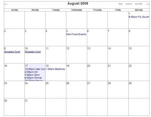 Calendario de eventos javascript mootools-Events Calendar