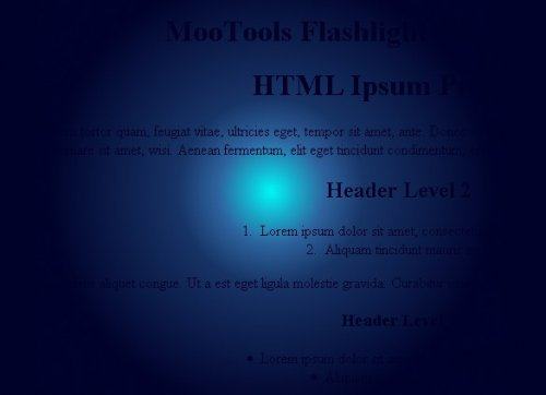 Make your cursor in a flashlight with this mootools plugin-Flashlight Effect