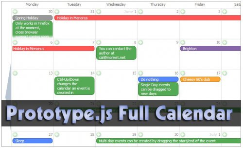 Calendario de pantalla completa con prototype y php-Monket