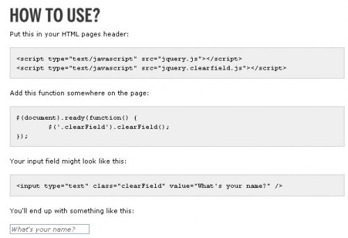 Put labels in your html input text with javascript jQuery.-Clearfield