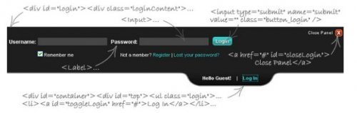 Show and hide the login panel on top of the page-Sliding Login Panel