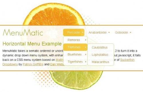 Mootools plugins that generate dropdown menu-MenuMatic