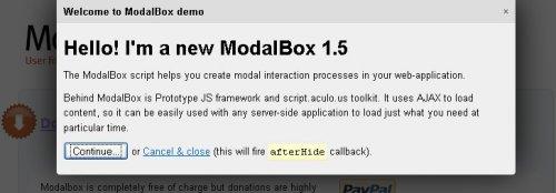 JavaScript technique for creating modern (Web 2.0-style) modal popups-ModalBox