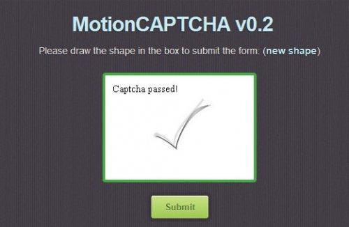 Html5 captcha plugin with jQuery-motionCaption