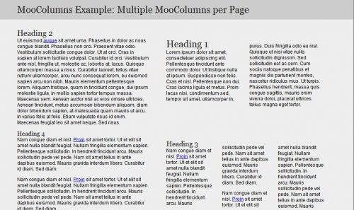 Divide content  into multiple columns with javascript quickly and easily.-MooColumns