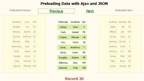 Pre carga de datos con ajax y json, ejecutar consultas sql por detras-PreloadingData