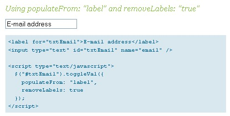 Put labels in  same input fileds Jquery Javascript-ToggleVal