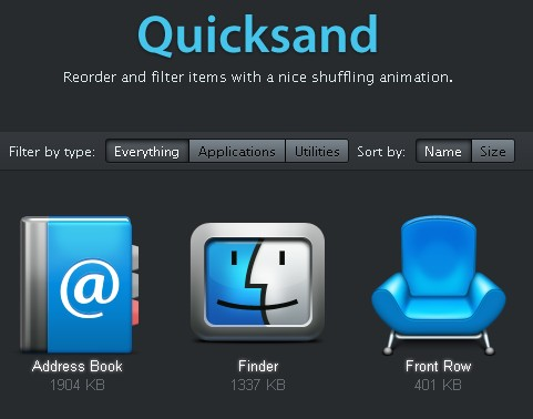 Reorder and filter items with an animation.-Quicksand
