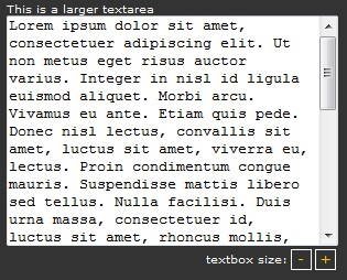 Resize a textarea with javascript, Plugin that Allows the user to expand and shrink the height of HTML textareas-Textarea Resizer