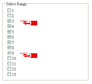 Select a range of consequetive checkboxes with just two clicks-Shiftcheckbox