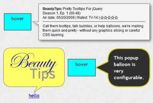 Create beauty tooltips with jQuery HTML5 and Canvas-beautyTips