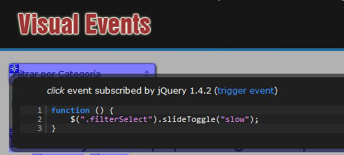 Track javascript events which are subscribed to DOM nodes-Visual Event JS Library