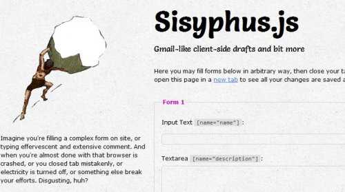 Auto Save HTML Forms with javascript - Sisyphus