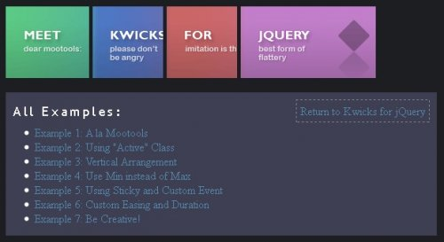 jQuery accordion Menu with horizontal and vertical positions - kwicks accordion
