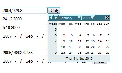 Calendario javascript selector de fechas - DataPicker