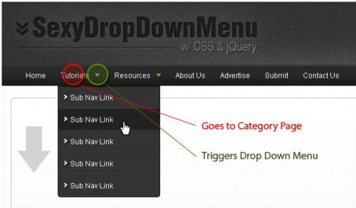 Example About how to create a sexy Drop Down Menu with jQuery and CSS - SexyMenu