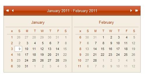 Ejemplo de Calendario ajax-AjaxCalendar