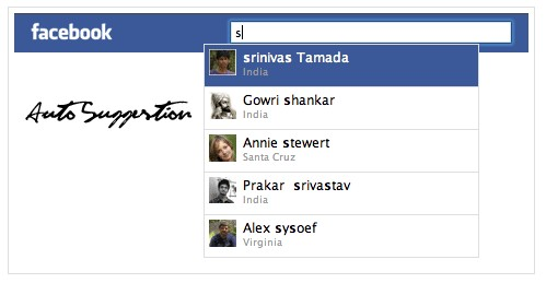 Create a facebook autosuggestion with jQuery, Ajax and PHP. - FacebookLike