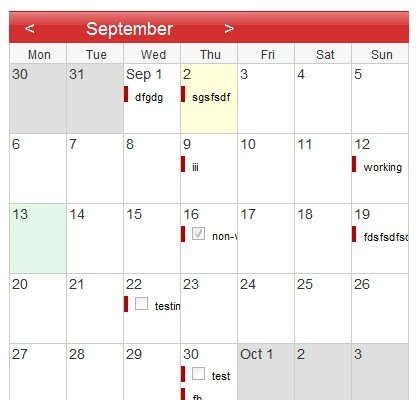 Calendario simple javascript que te permite ver eventos en cualquier mes - SimpleCalendar