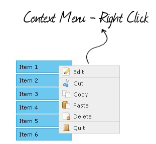 Plugin that lets you add context menu functionality to your web applications. - jQuery Context menu