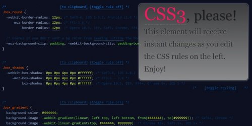 Css3 Please Css3 Rules Generator for multiple browsers - Css3please