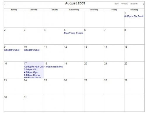 Web Embeddable Javascript Calendar - Events Calendar