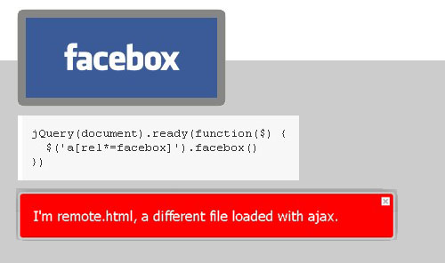jQuery Plugin that Shows ajax boxes with facebook style - Facebox