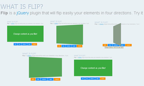 jQuery plugin that flip easily your elements in four directions - FLIP