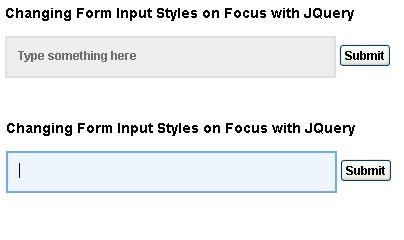 Changing Form Input Styles on Focus with jQuery - Html form Style