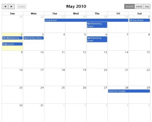 JQuery,  full-sized, drag & drop calendar to fetch events - FullCalendar