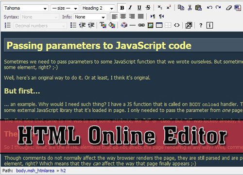 Add a HTML web editor in a website - htmlArea