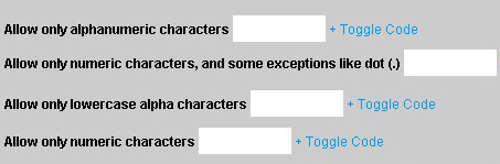 Restric characters in html inputs - AlphaNumeric