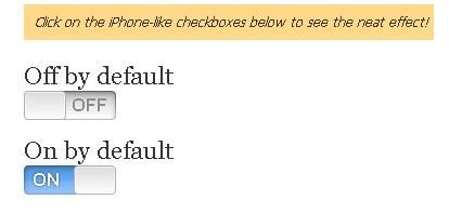 Plugin que te permite mostrar los checkbox con estilo iphone - iPhone Checkboxes for mootools