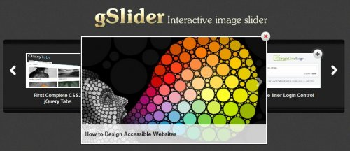 Iteractive jQuery image Slider with lightbox included - gSlider