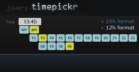 jQuery Time Picker - jQueryTimePicker