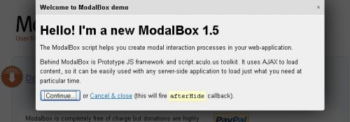 JavaScript technique for creating modern (Web 2.0-style) modal popups - ModalBox