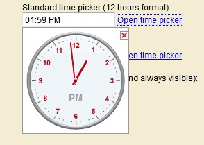 JavaScript Time Picker,select a time moving the clockwise - Time Picker