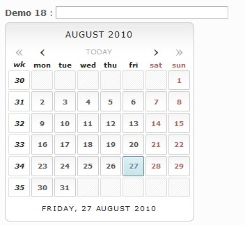 Selector de fechas o calendario javascript no intrusivo - DatePicker