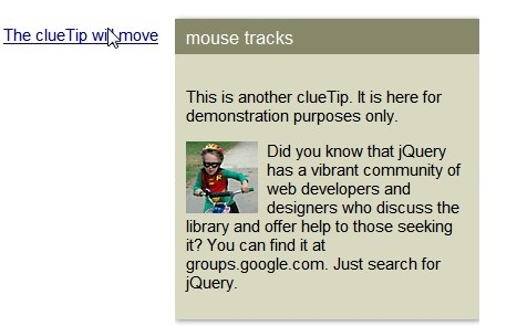 Javascript Tool tip plugin-ClueTip