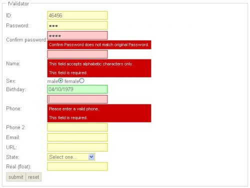 Open source free unobtrusive javascript tool for easy handling form validation. - fValidator