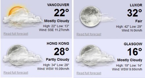 Yahoo Weather Feed Plugin for jQuery - zWeatherFeed